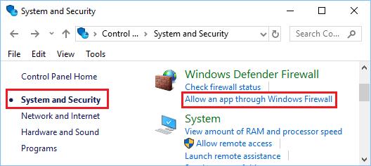 Разрешение взаимодействия с приложением через брандмауэр Windows на панели управления Windows 10